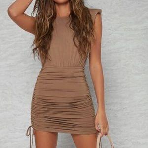 Ruched Drawstring Padded Shoulder Tank Dress